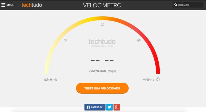 Novo Velocímetro do TechTudo testa a sua conexão de Internet no computador (Foto: Reprodução/TechTudo)