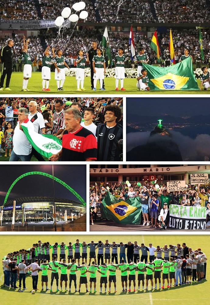 Mosaico Chape 1 mês (Foto: GloboEsporte.com)