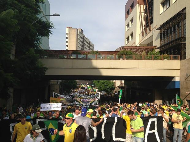 Em Porto Alegre, os manifestantes fazem uma caminhada e depois devem voltar ao Parque Moinhos de Vento, o Parcão. Cerca de 100 mil pessoas participam, segundo a Brigada Militar. O último número divulgado pela organização foi de 60 mil. (Foto: Caetanno Freitas/G1)