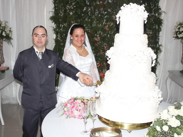 Primeiro casamento de portadores de síndorme de Down no Piauí (Foto: Amanda Dourado/G1)