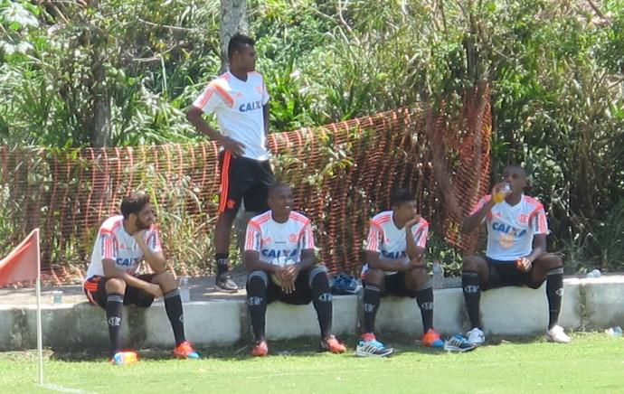 Wallace, Dumas, Samir, Márcio Araújo e Marcelo, treino Flamengo (Foto: Thales Soares )