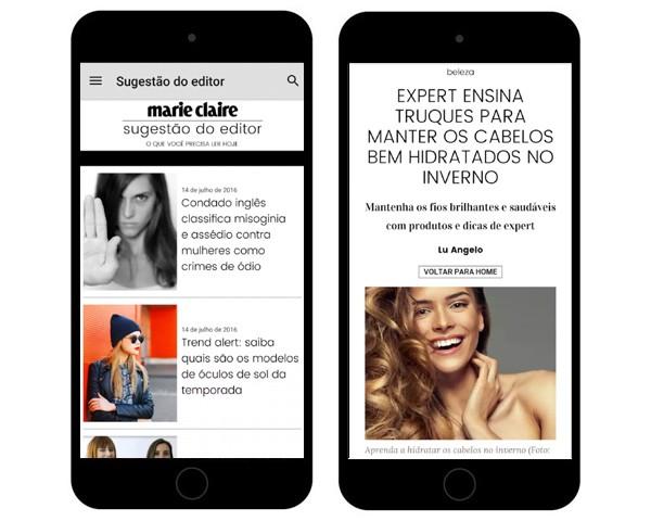 As telas do novo app de Marie Claire, disponível para Android e iOS (Foto: Divulgação)