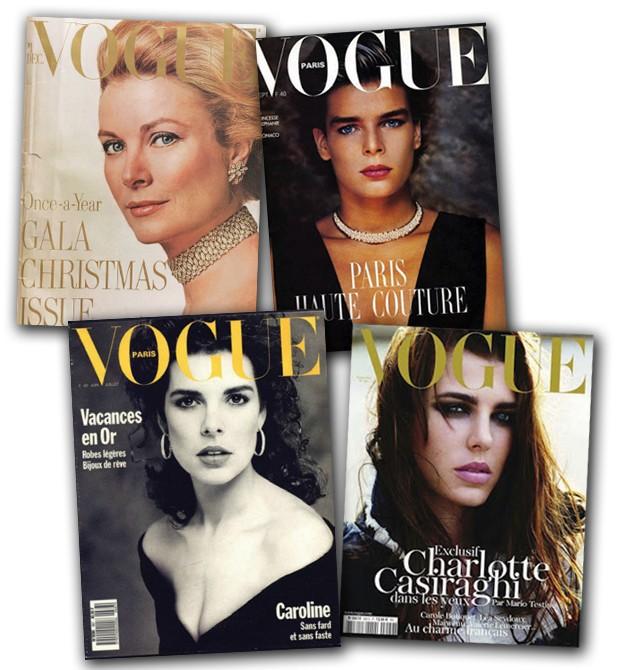 ÁLBUM DE FAMÍLIA Grace por richard Avedon para a Vogue americana de 1971; suas filhas stéphanie e Caroline na Vogue francesa de 1986 e 1988, respectivamente; e a neta Charlotte na edição de setembro de 2011, clicada por Mario testino (Foto: Divulgação)