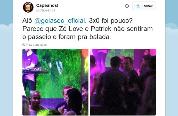 Torcedores do Atlético-PR postam foto com jogadores do Goiás na balada (Foto: Reprodução/Twitter)