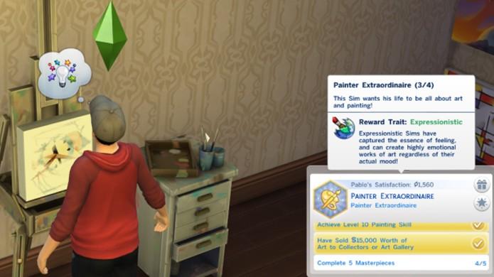 É muito mais fácil transformar seu Sim em um grande pintor se essa for a vontade dele (Foto: carls-sims-4-guide.com)