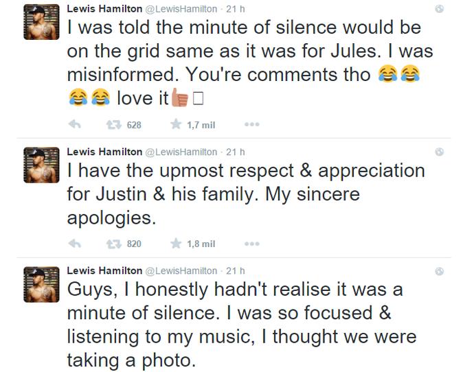 Lewis Hamilton se explica após polêmica em minuto de silêncio no GP da Itália (Foto: Reprodução / Twitter)