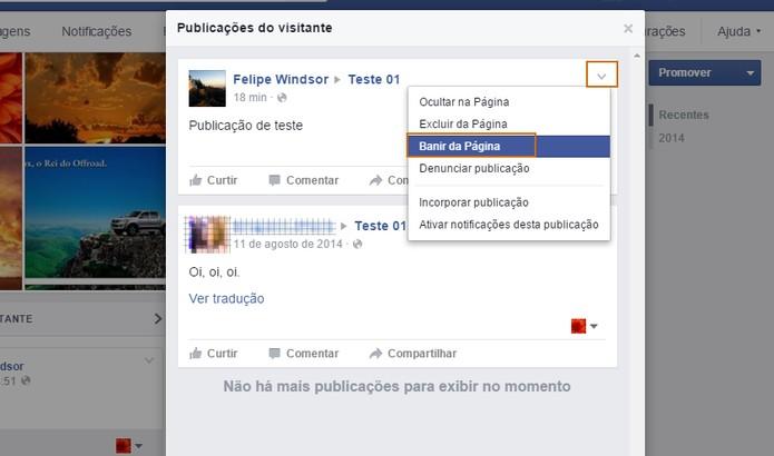 Confirme no botão de banir da página no Facebook (Foto: Reprodução/Barbara Mannara)