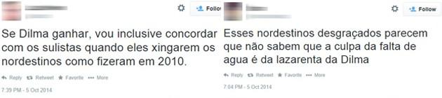 Posts em redes sociais mostram discriminação contra nordestinos (Foto: Reprodução/Twitter)