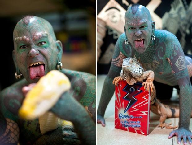 Erik Sprague tem chifre, língua partida e dentes lixados. (Foto: Martin Bureau/AFP)