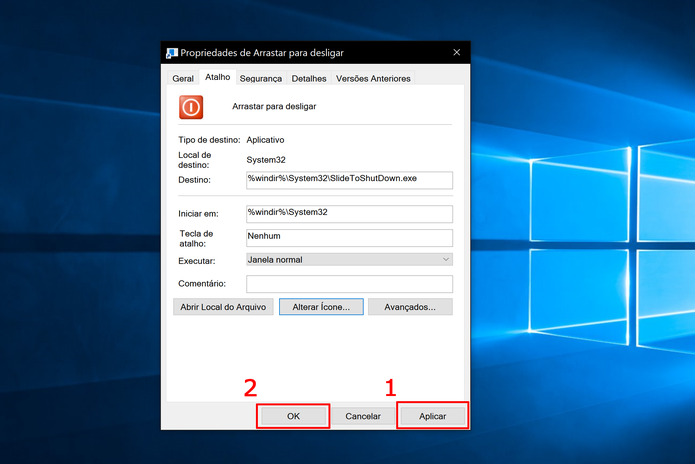 Clique em aplicar para mudar a aparência do ícone de desligar o Windows 10 (Foto: Reprodução/Elson de Souza)