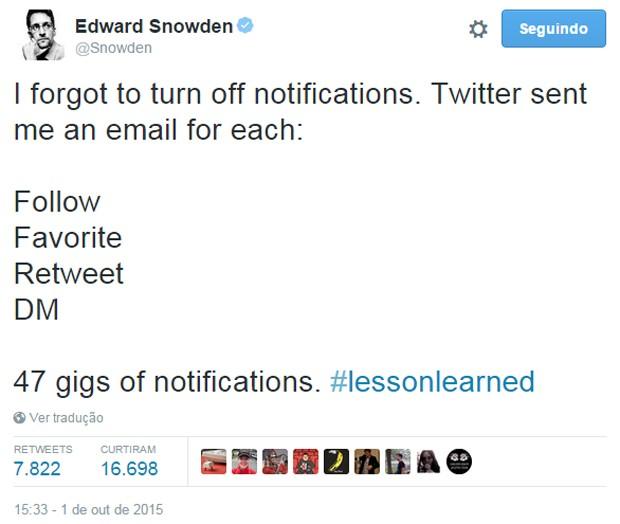 Edward Snowden diz ter recebido 47 GB de e-mails com notificações do Twitter  (Foto: Reprodução/Twitter/Snowden)