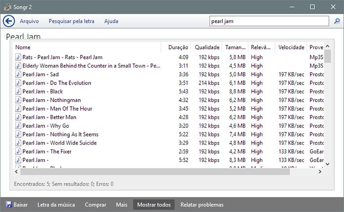 Programa oferecer dezenas de opções de download para uma única busca (Foto: Reprodução/Paulo Alves)