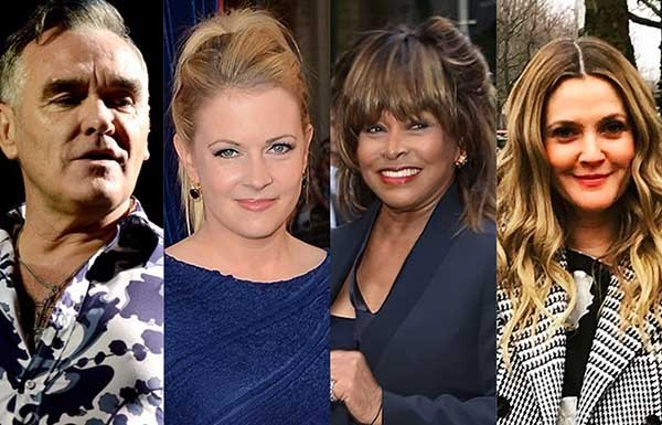 Morrissey, Melissa Joan Hart, Tina Turner, Drew Barrymore (Foto: Getty Images e Instagram)