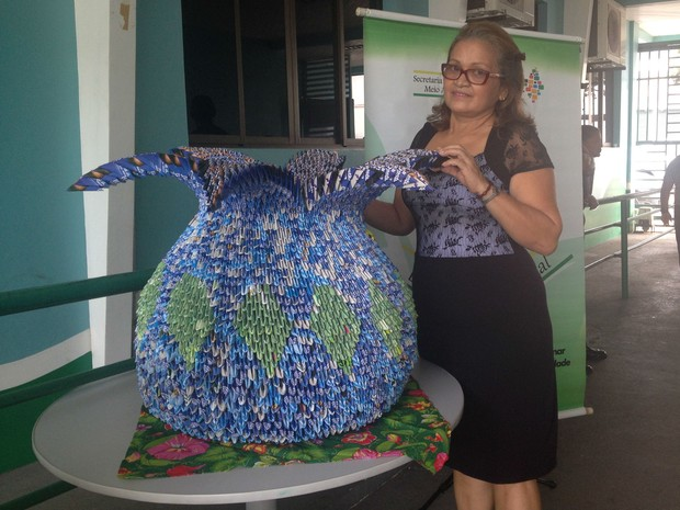 Vaso feito com dobraduras de papel foi exposto durante feira em Macapa (Foto: Fabiana Figueiredo/G1)