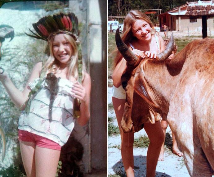 Deborah tem forte ligação com os animais desde a infância; na esquerda, a cantora está com o macaco Pepito, que ela descreve como um dos maiores amores de sua vida (Foto: Arquivo Pessoal)