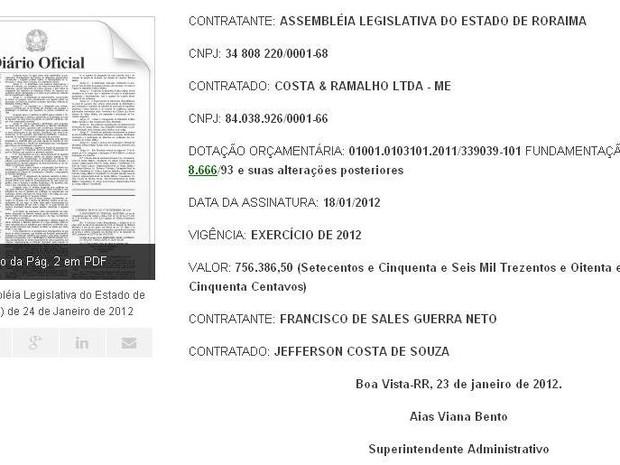 Contrato com empresa Brasil Norte foi publicado no Diário (Foto: Divulgação:)