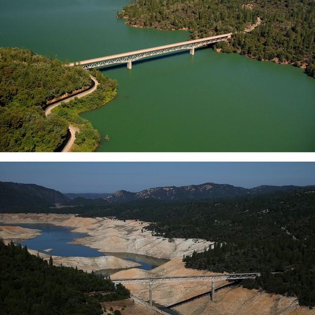 Foto mostra ponte Enterprise, acima do lago Oroville, em 2011 e agora, depois de três anos de seca na região (Foto: Getty Images)