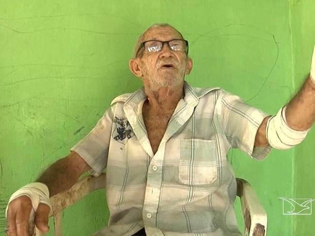 José Felipe da Silva foi assaltado e espancado em sua residência em Balsas, MA (Foto: Reprodução/TV Mirante)
