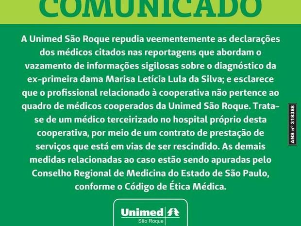 Unimed de São Roque demite médico que fez comentários agressivos sobre a ex-primeira dama (Foto: Divulgação/Unimed São Roque)
