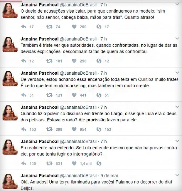 Janaina comentou movimentação em Curitiba (Foto: Reprodução)