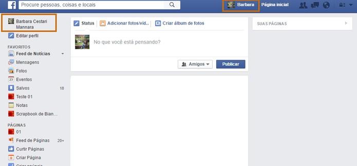 Acesse seu perfil do Facebook pelo computador (Foto: Reprodução/Barbara Mannara)
