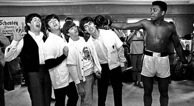 Paul McCartney, John Lennon, Ringo Star e George Harrison, integrantes dos Beatles, e Muhammad Ali. (Foto: Divulgação/Paul McCartney)