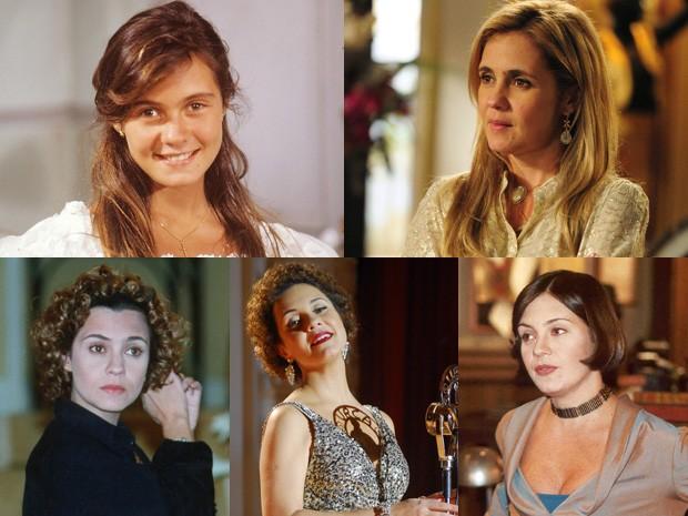 Adriana Esteves e seus vários papéis (Foto: Divulgação e CEDOC/TV Globo)