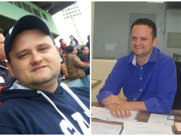 Victor Minikoski perdeu 17 quilos após o projeto e conta que passou a praticar ciclismo  (Foto: Arquivo pessoa e Tácita Muniz/G1)