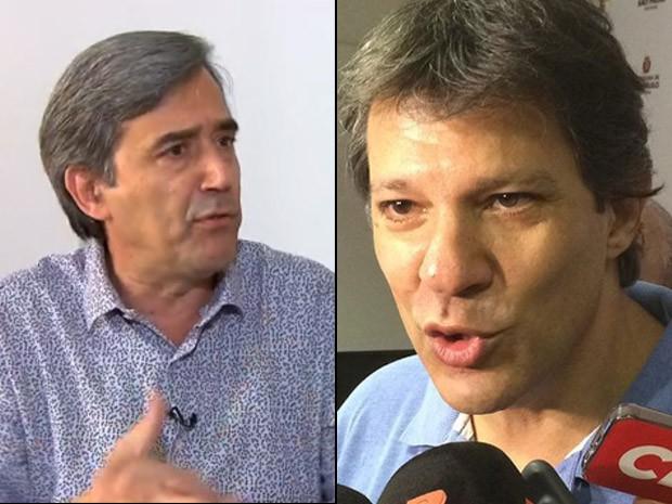 Marco Antônio Villa (à esq.) foi alvo de trote de Haddad (Foto: Reprodução/TV Globo e Isabela Leite/G1)