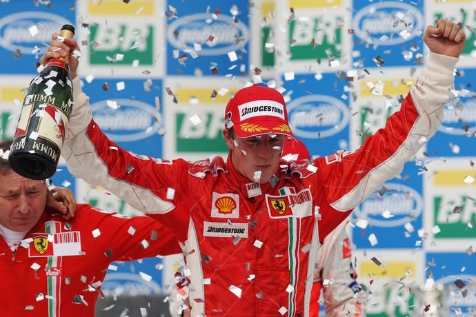 Em 2007, Kimi Raikkonen conquistou o único título de Pilotos da Ferrari após a era Michael Schumacher (Foto: Getty Images)
