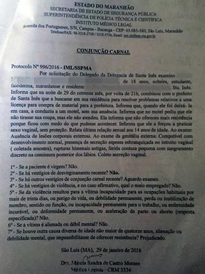 Laudo de exame de conjunção carnal feito em jovem que acusa prefeito de estupro (Foto: Policia Civil)