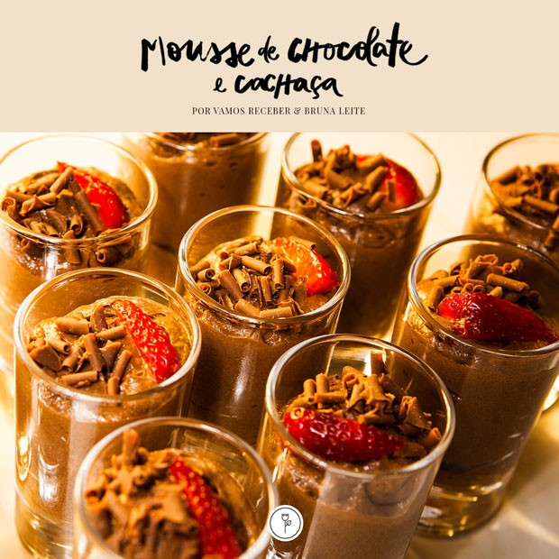 Mousse de chocolate com cachaça