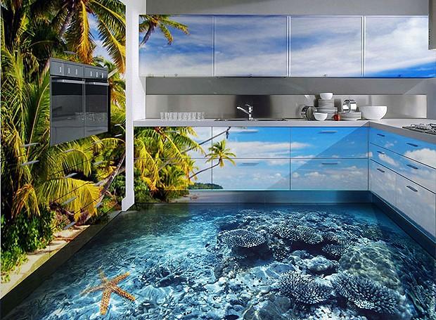 Esta cozinha ganhou um visual todo praiano! (Foto: Divulgação)