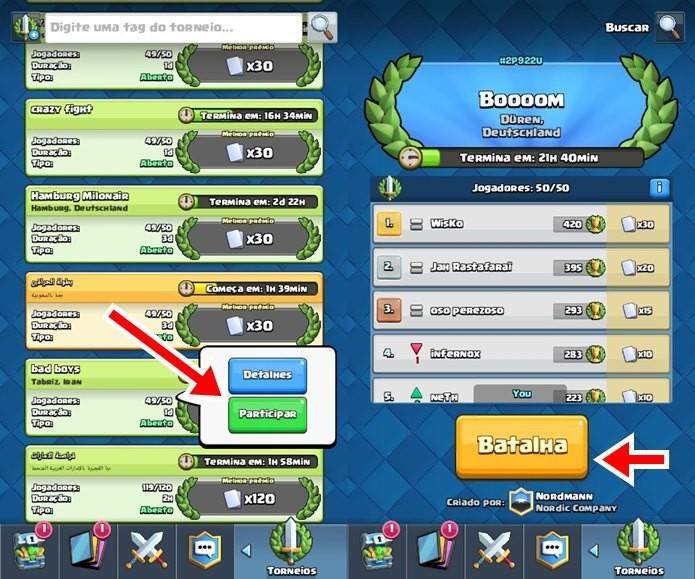 Ao entrar em um torneio, o jogador não pode sair e precisa batalhar contra outros jogadores do mesmo torneio (Foto: Reprodução / Supercell)