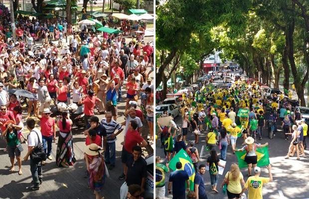 Em Belém aconteceram atos contra Dilma e contra Temer neste domingo (Foto: Thais Rezende/G1 Pará)