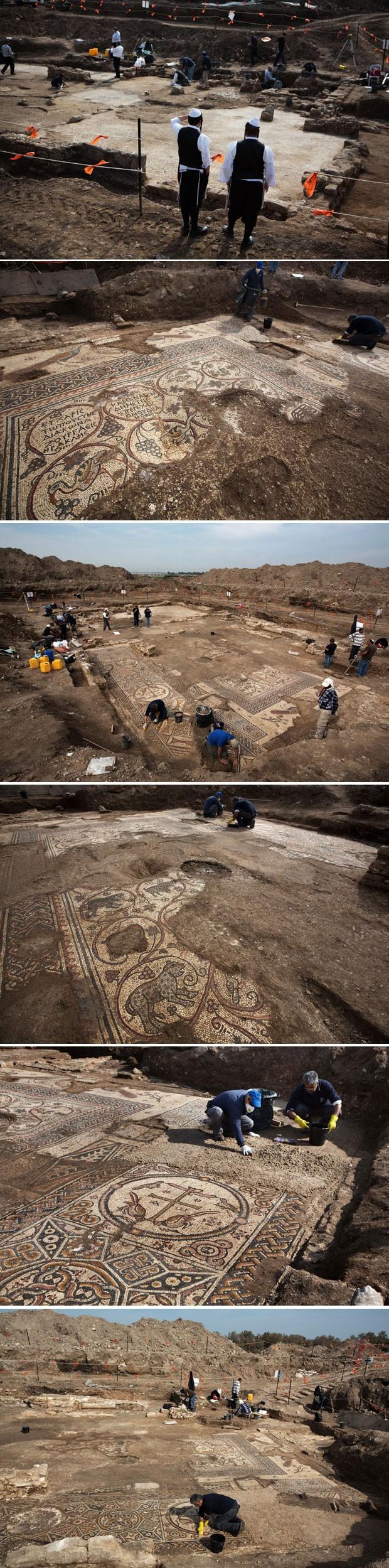 Trabalhos deescacação do mosaico em Israel (Foto: Menahem Kahana/AFP)