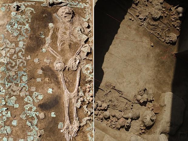 Esqueleto encontrado em câmara funerária no Peru (Foto: Douglas Suares/STR/AFP)