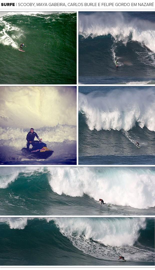mosaico Surfe Maya Gabeira Pedro Scooby em Portugal (Foto: Gustavo Bordallo)