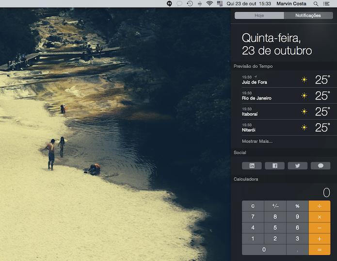 Widgets podem ser adicionados a Central de Notificações do Yosemite (Foto: Reprodução/Marvin Costa)
