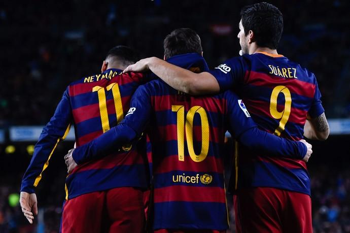Neymar, Messi e Suárez, Barcelona x Celta (Foto: David Ramos / Getty Images)
