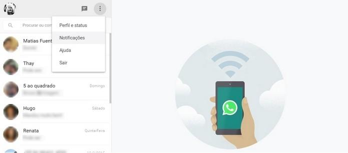 Caminho para acesso ao menu Notificações do WhatsApp Web (Foto: Reprodução/ Raquel Freire)