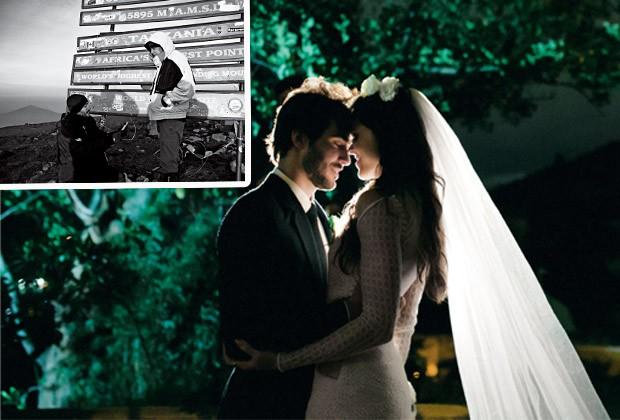 Camila e o adminstrador de empresas Carlos de Barros se casaram no Rio, em 2014. No detalhe, o momento do pedido a quase 6 mil metros de altitude, no Kilimanjaro (Foto: Túlio Thomé / Arquivo pessoal)