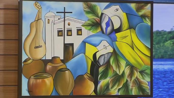 Rosa Ferreira recheou o estúdio do programa com suas obras de arte (Foto: TV Centro América)