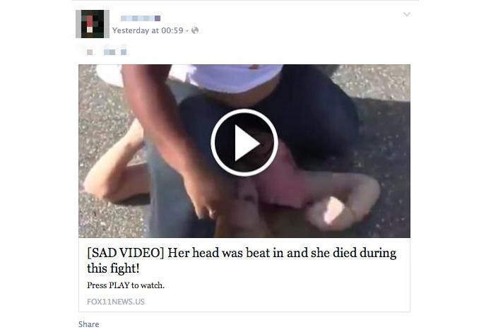 Golpe atrai vítimas com vídeos violentos (foto: Reprodução/Hot For Security)