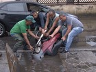 'Pescaria' de moto vira atração após acidente em Santos, SP; veja o vídeo