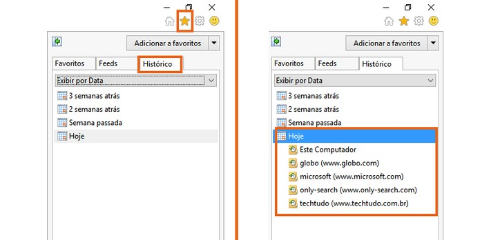 Acesse a barra de histórico no Internet Explorer (Foto: Reprodução/Barbara Mannara)