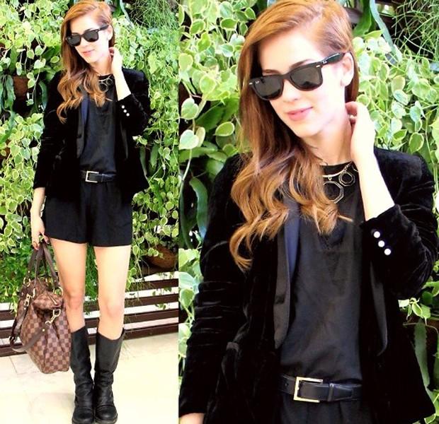Sophia Abrahão mostra look estiloso com blazer de veludo (Foto: Arquivo pessoal)