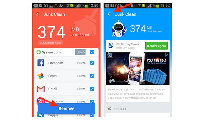Removendo arquivos da lixeira do Android com o Super Booster Clean Boost (Foto: Reprodução/Marvin Costa)