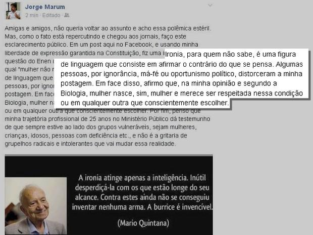 Marum se defendeu após polêmica com declaração no Facebook (Foto: Reprodução / Facebook)