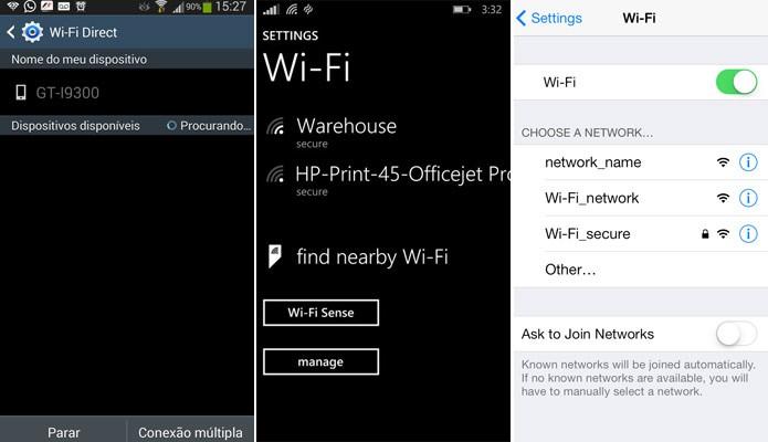 Android, Windows Phone e iOS oferecem suporte ao WiFi Direct (Foto: Reprodução)